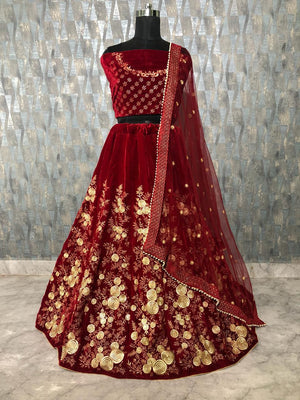 Maroon Velvet Embroidered Fancy Ghagra Choli Designs With Price