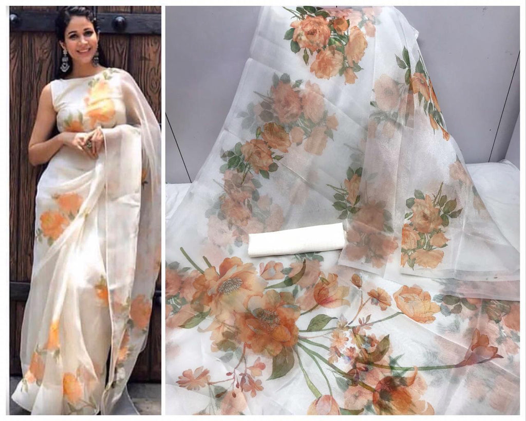 White and Orange Floral Digital Printed Latest Organza Saree and Blouse Set