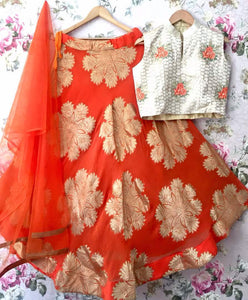 Orange Party Wear Indian Choli Dresses
