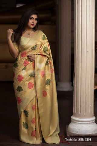 Light Yellow Pure Banarasi Handloom Silk Indian Wear Saree Bouse