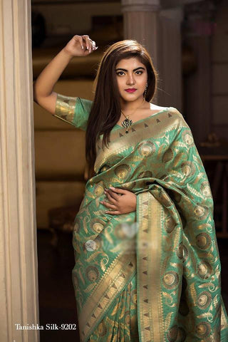 Green Pure Banarasi Handloom Silk New Arrival Sarees Online Shopping