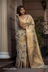 Light Beige Pure Banarasi Handloom Silk New Saree Models With Price