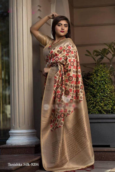 Beige Pure Banarasi Handloom Silk New Fashion Sarees In Indian