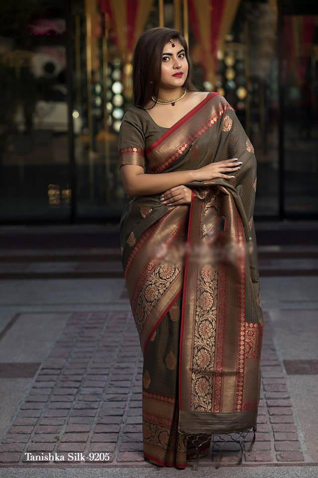 Brown Pure Banarasi Handloom Silk New Latest Saree Designs