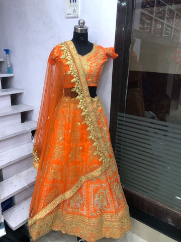 Orange Mulberry Silk Embroidered Indian Bridal Lehengas Online