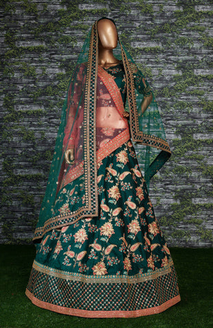 Green Taffeta Silk Heavy Embroidered Indian Wedding Lehenga Choli Online