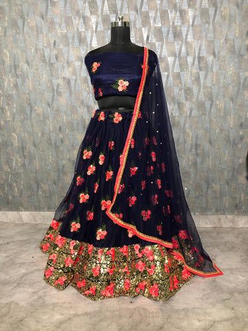 Navy Blue Net Embroidered Latest Party Ghagra Dress Online India