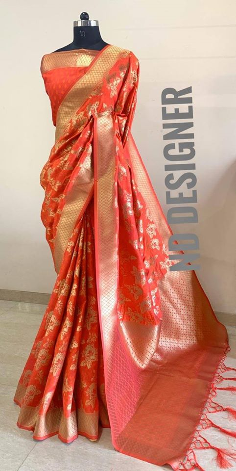 Elegant Banarasi Silk Saree With Tassels And Blouse In Orange