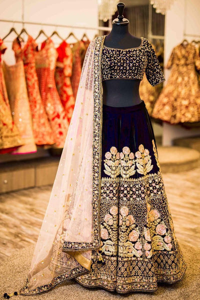 Navy Blue Velvet Silk Embroidered Beautiful Indian Wedding Lehenga Online