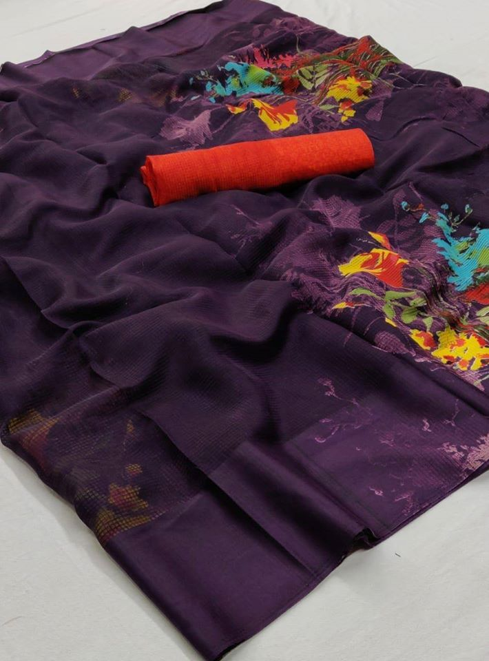 Purple Multi color Floral linen Saree digital print and Red Blouse