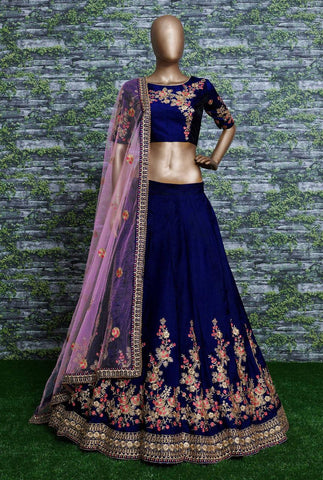 Blue Embroidered Taffeta Silk Latest Indian Wedding Choli