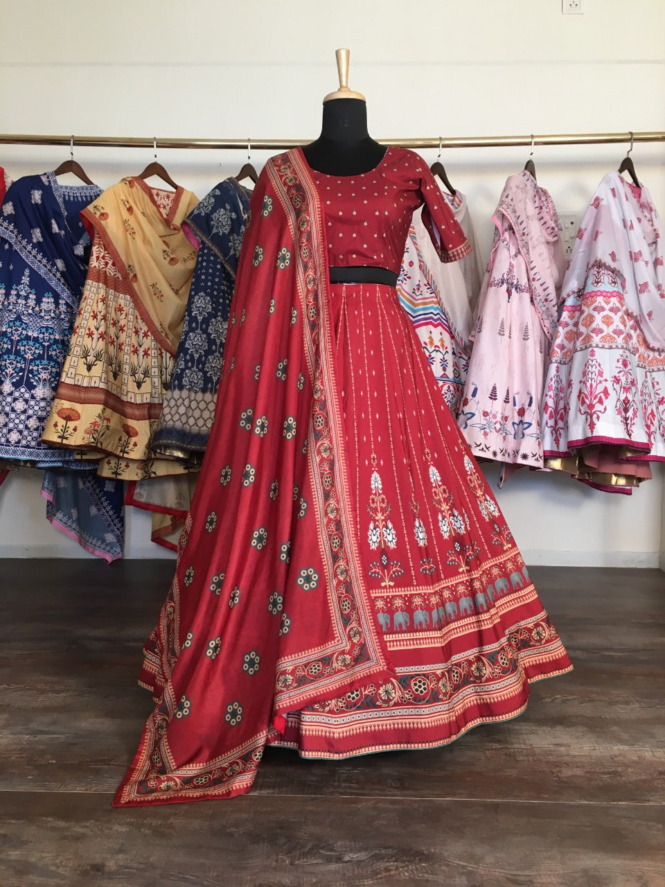 Red Digital Printed New Ghagra Choli Online Shopping
