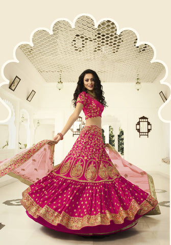 Fuchsia Art Silk Embroidered Ghagra Choli Designs With Price