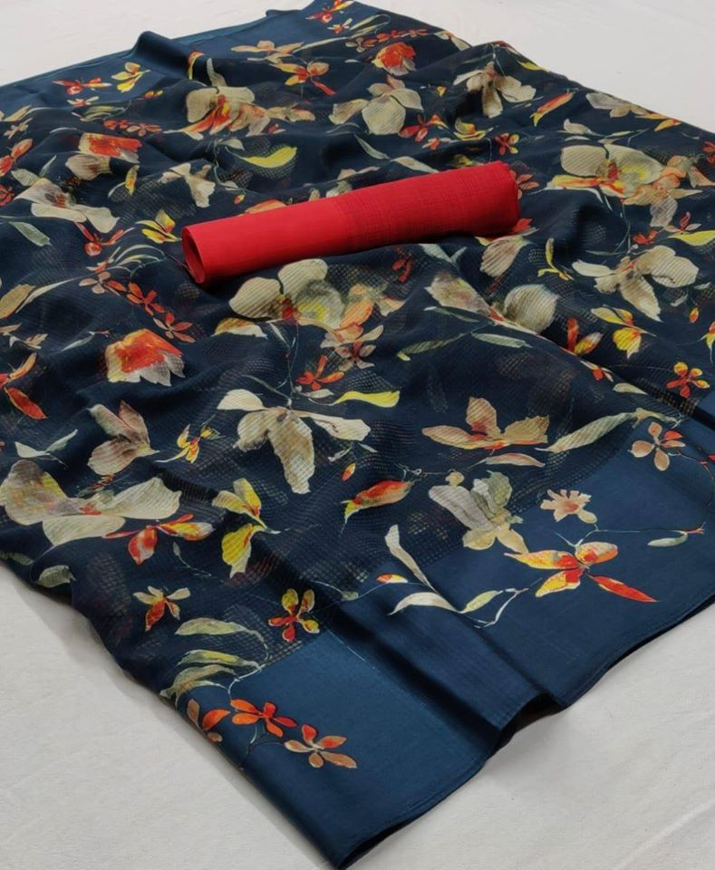 Blue Beige Floral Design linen Saree digital print and Red Blouse