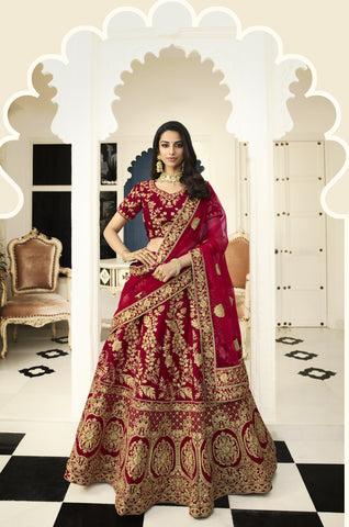 Maroon Art Silk Embroidered Latest Bridal Lehenga Designs