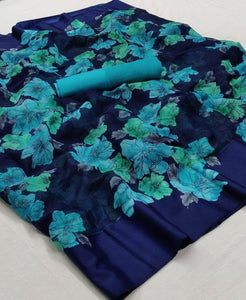 Navy Blue and Light Color Floral Linen Saree Digital Print and Blouse
