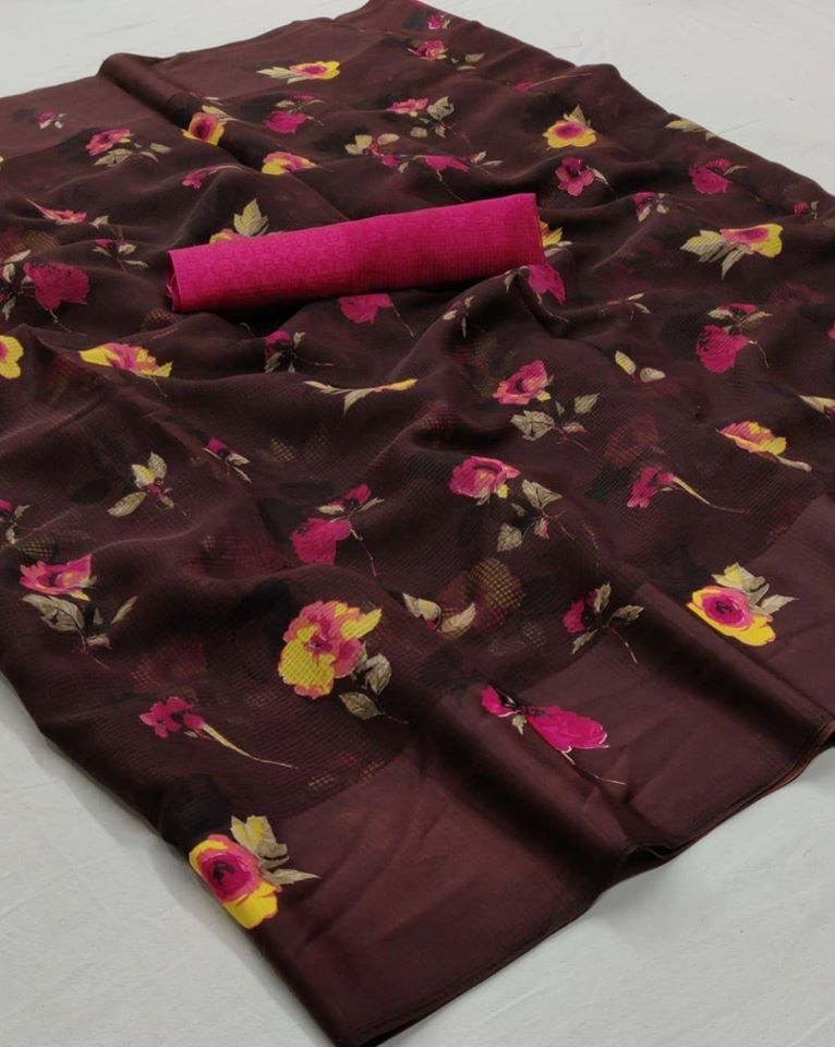 Brown And Pink Color Floral Linen Saree Digital Print And Blouse