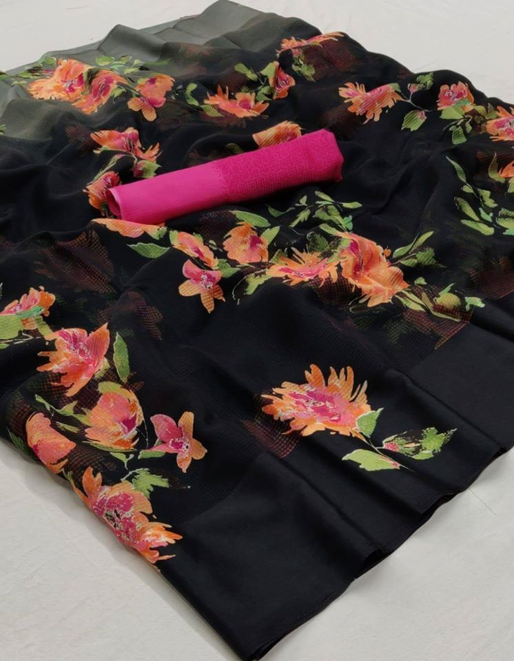 Black And Pink Floral Linen Saree Digital Print And Blouse