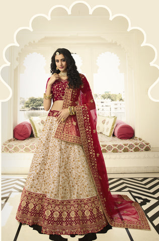Light Beige Art Silk Embroidered Latest Indian Wedding Lehenga