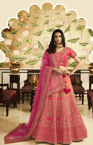 Peach Pink  Art Silk Embroidered Bridal Lehenga Saree Designs