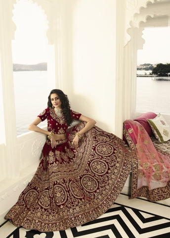 Maroon Velvet Embroidered Best Bridal Lehenga Online Shopping