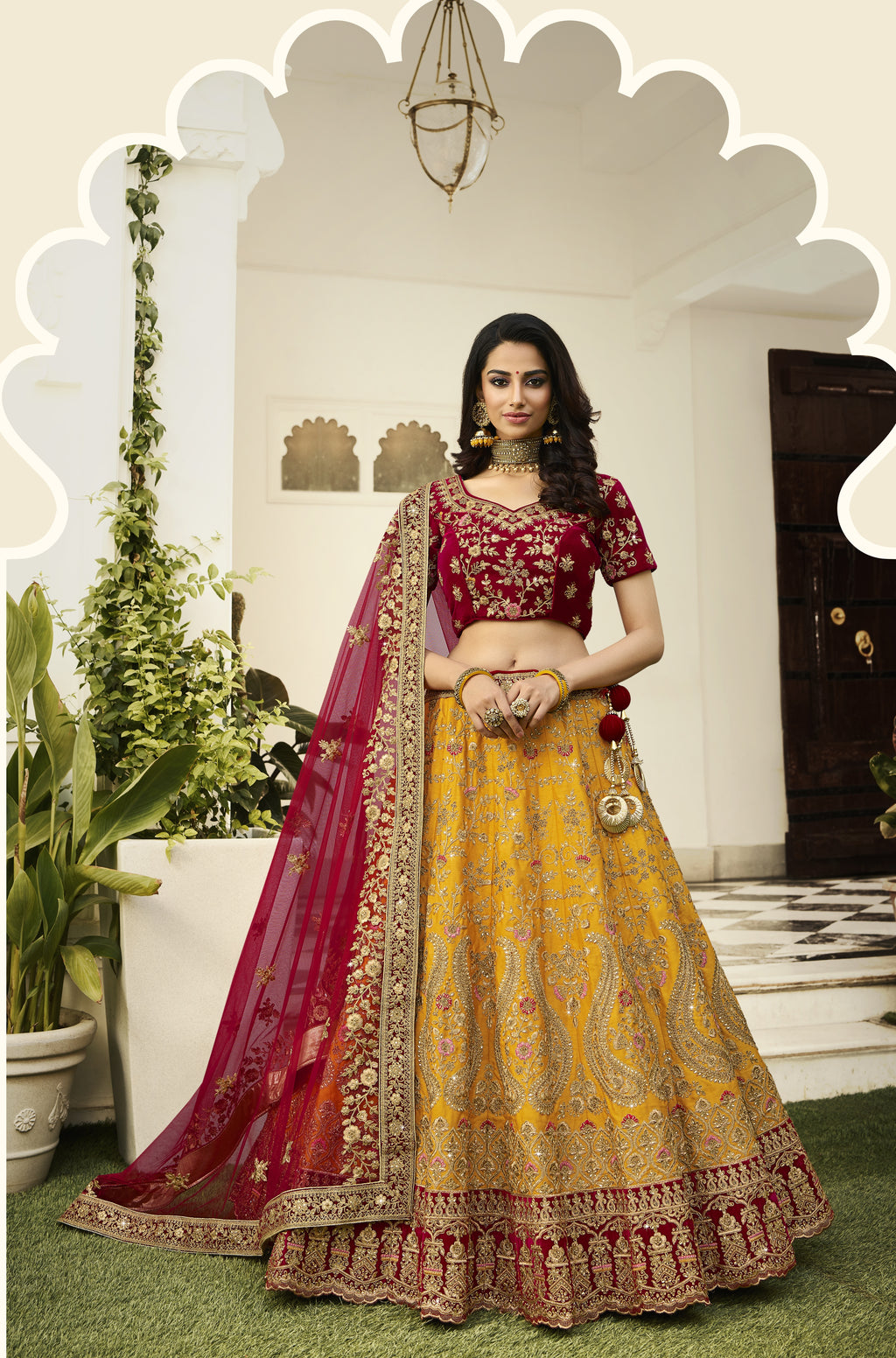 Mustard Art Silk Embroidered Lehenga Bridal Dresses Indian Wedding