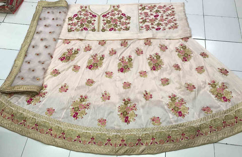 Beautiful Light Beige Latest Lehenga Designs For Wedding