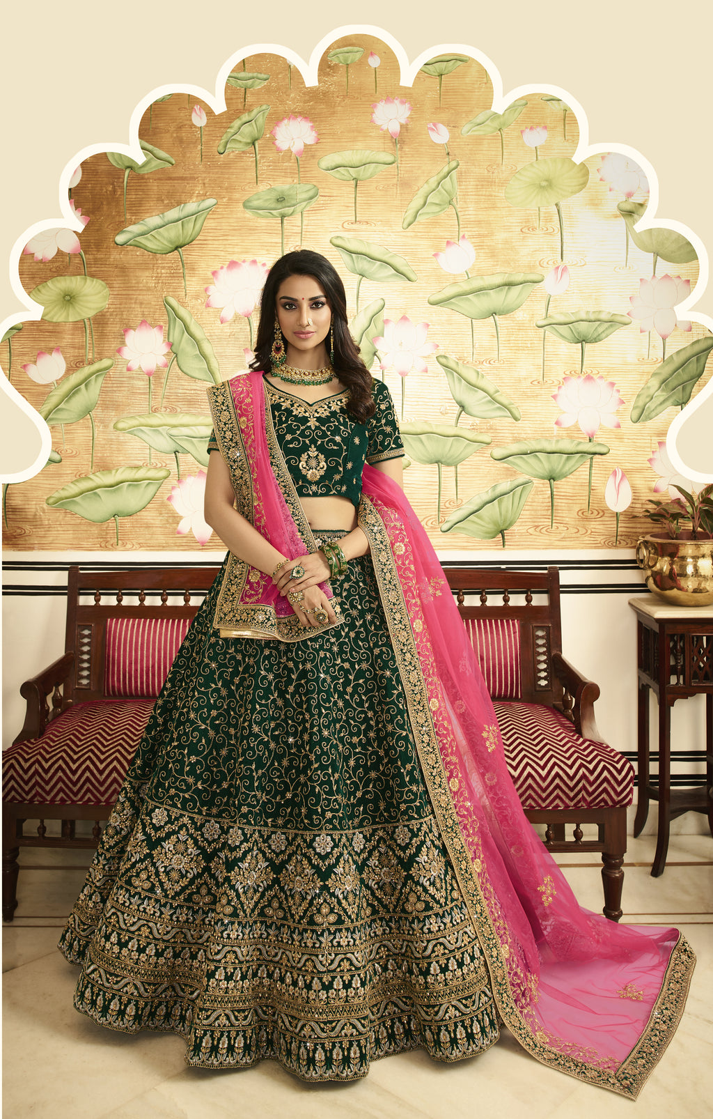 Dark Green Velvet Embroidered Beautiful Indian Bridal Lehengas