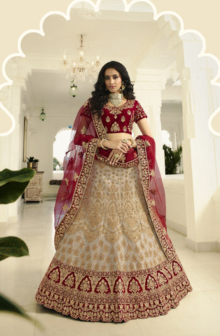 Beige Art Silk Embroidered Indian Wedding Lehengas For Bride