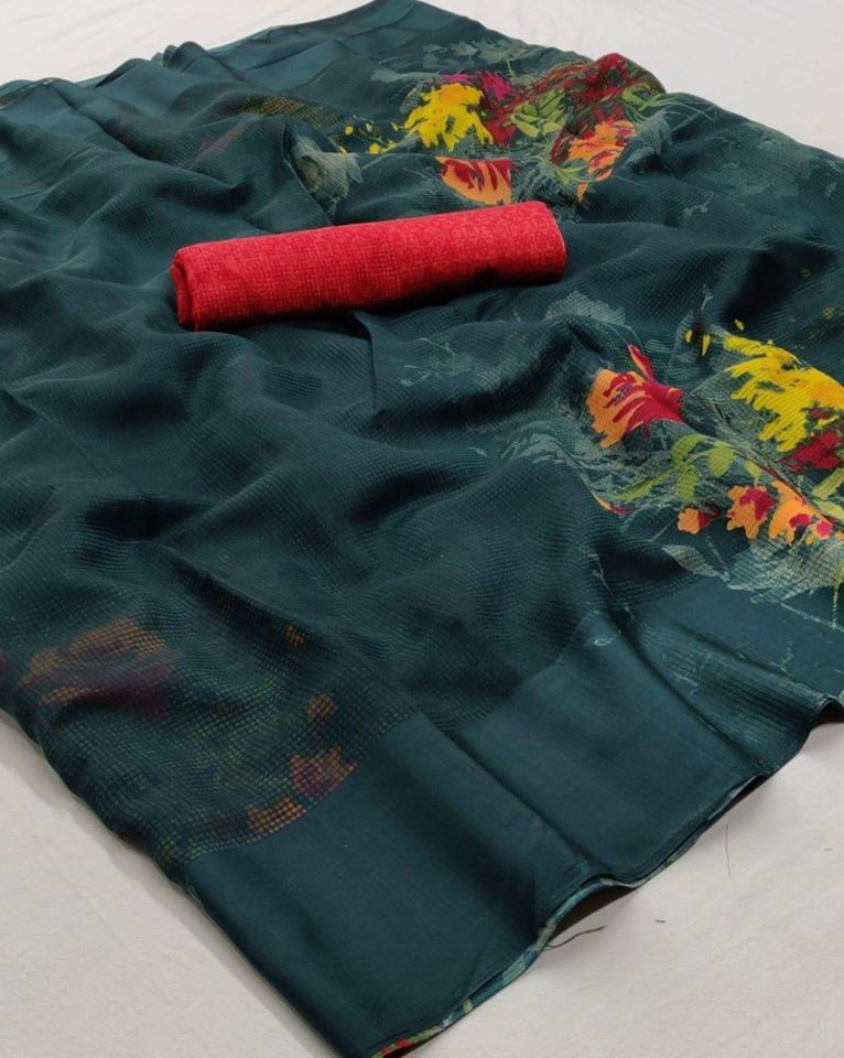 Dark Green Floral Linen Saree Digital Print And Red Blouse