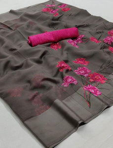 Grey Floral Linen Saree Digital Print And Pink Blouse