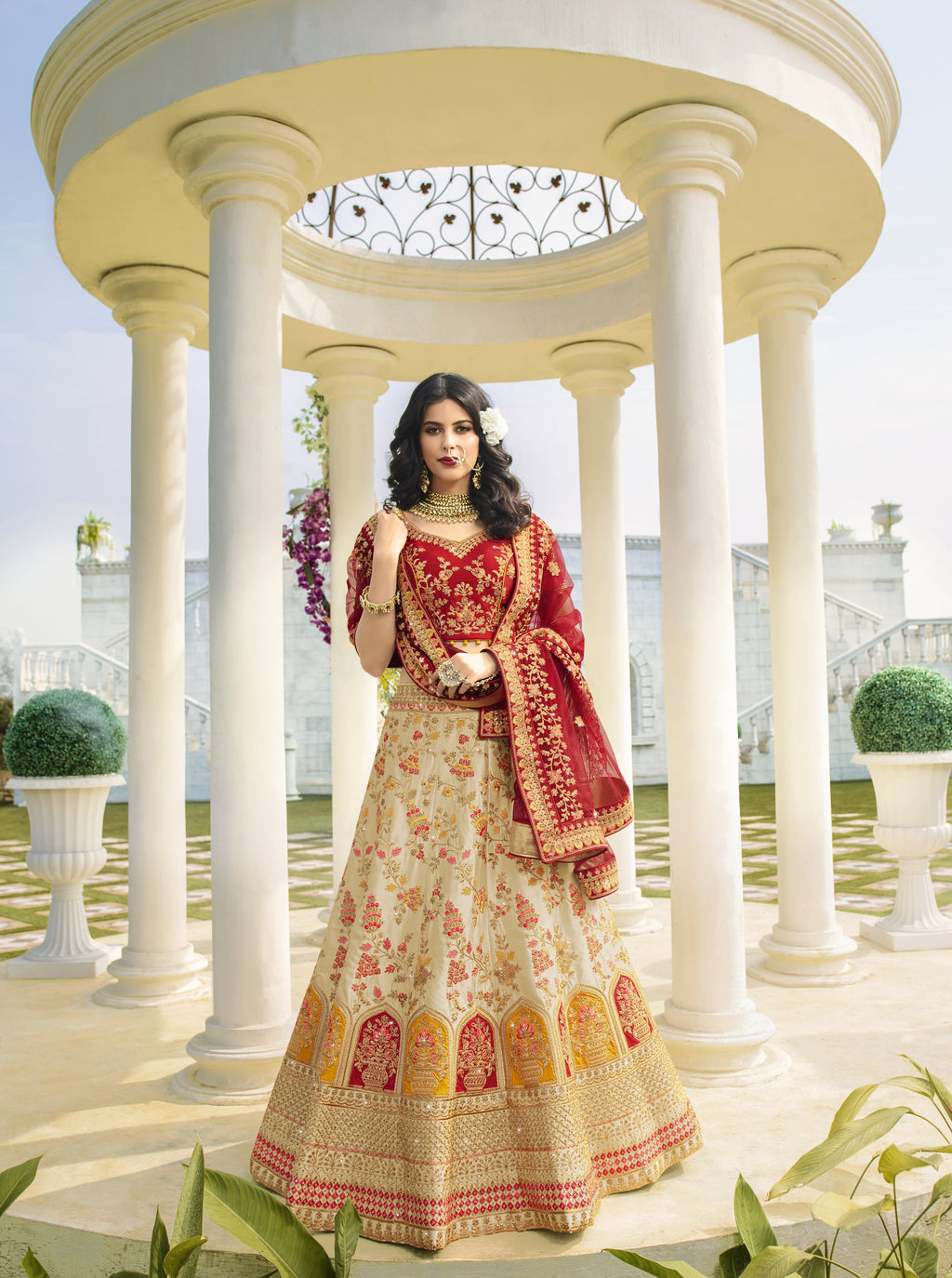 Light Beige Satin Embroidered Latest Indian Wedding Ghagra Choli Online