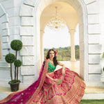 Fuchsia Satin Embroidered Indian Wedding Wear Ghagra Choli Suits
