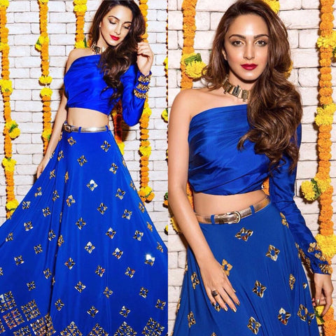 Blue One Shoulder Tops Bollywood Designer Lehengas ,Indian Dresses - 2