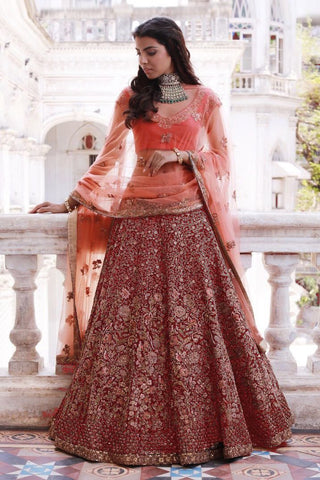Maroon Mulberry Silk Embroidery Wedding Indian Designer Ghagra Choli
