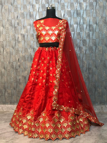Red Banglori Satin Silk Bollywood Lehenga Choli Online