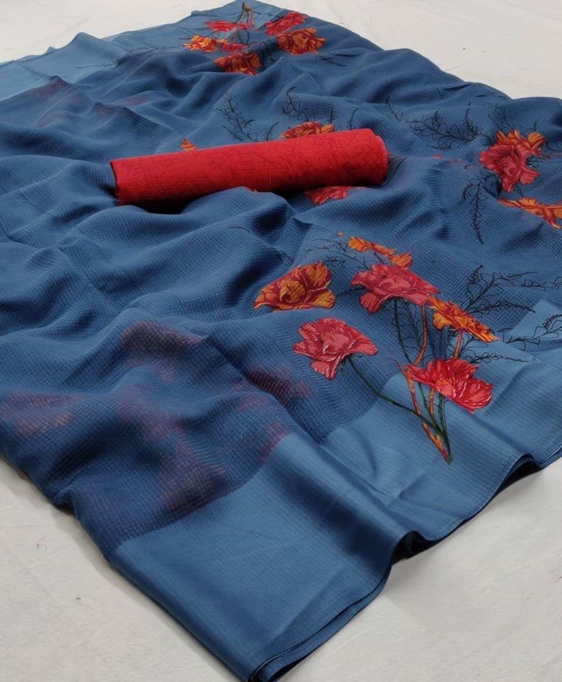 Blue Floral Llinen Saree Digital Print And Red Blouse