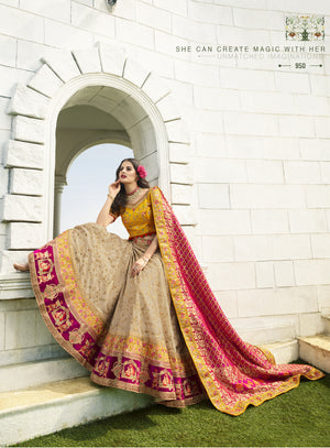 Beige Art Silk Embroidered Latest Indian Wedding Ghagra Cholis