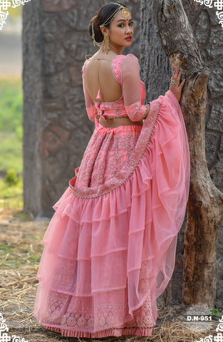 Lovely Pink Embroidered Net Latest Chaniya Choli For Wedding