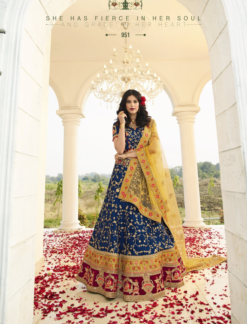 Dark Blue Art Silk Embroidered Wedding Indian Dress Ghagra Choli