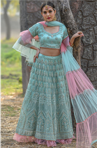 Light Bluish Green Net Embroidered Latest Lehenga Choli Designs