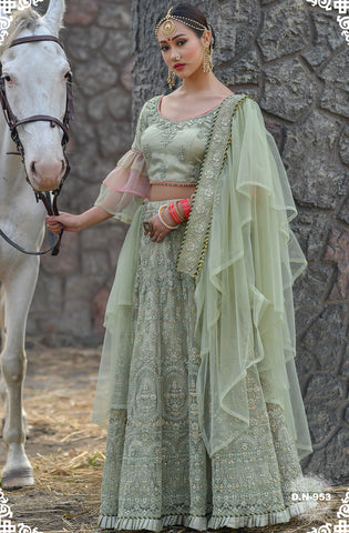 Light Sage Green Net Embroidered Wedding Lehenga Designs