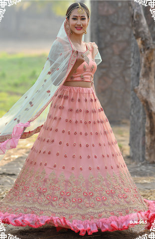 Peach Net Embroidered Designer Ghagra Choli For Wedding