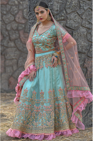 Light Turquoise Net Embroidered New Wedding Lehenga Choli Online