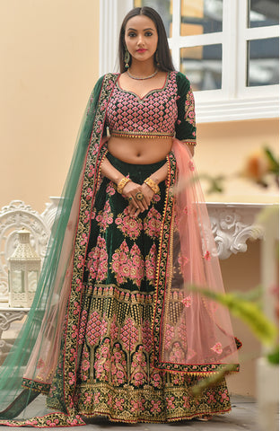 Dark Green Embroidered Velvet Ethnic Wedding Lehenga Choli Online