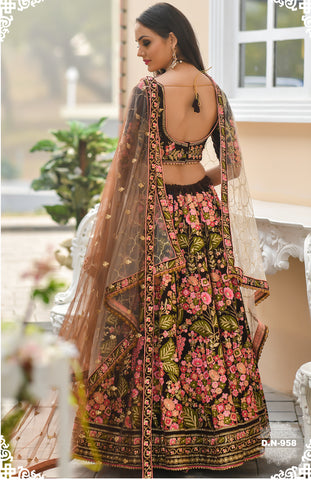 Mocha  Embroidered Velvet Wedding Lehenga  Choli Dress Designs