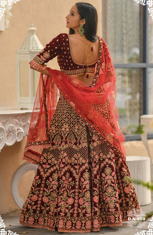 Maroon  Embroidered Velvet Wedding Ethnic Lehenga Choli Online