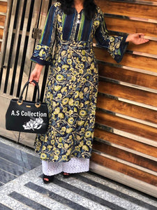 Navy Blue Printed Rayon Lucknowi Long Kurtis Online Shopping