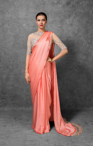 Trendy Peach Satin Party Wear Fashion Sarees Online Shopping