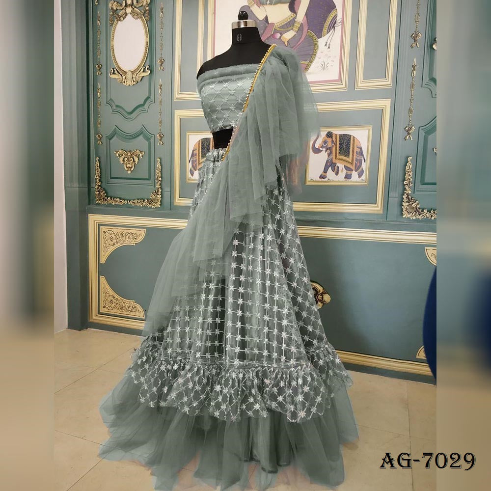 Grey Net Latest Party Wear New Style Lehenga Choli Online Shopping